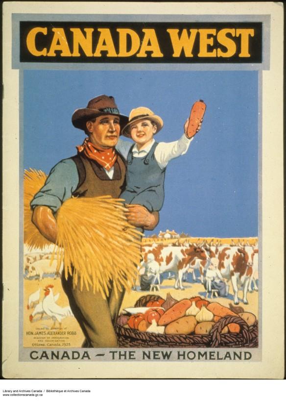 Affiche aux couleurs vives sur laquelle figure un homme qui transporte un paquet de blé sous un bras et un garçon dans l'autre. Un panier de pommes de terre, de tomates et d'ail se trouve à ses pieds. En arrière-plan : des poules, des cochons, un troupeau de bétail et une maison.