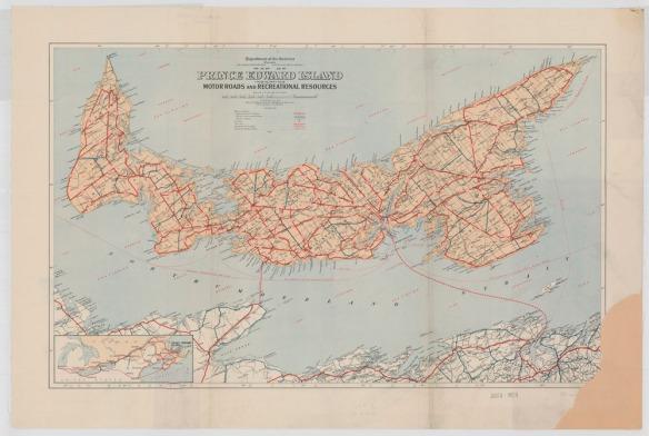 Une carte en couleur de l'Île du Prince-Édouard montrant les routes et les sites récréatifs sur l'île.