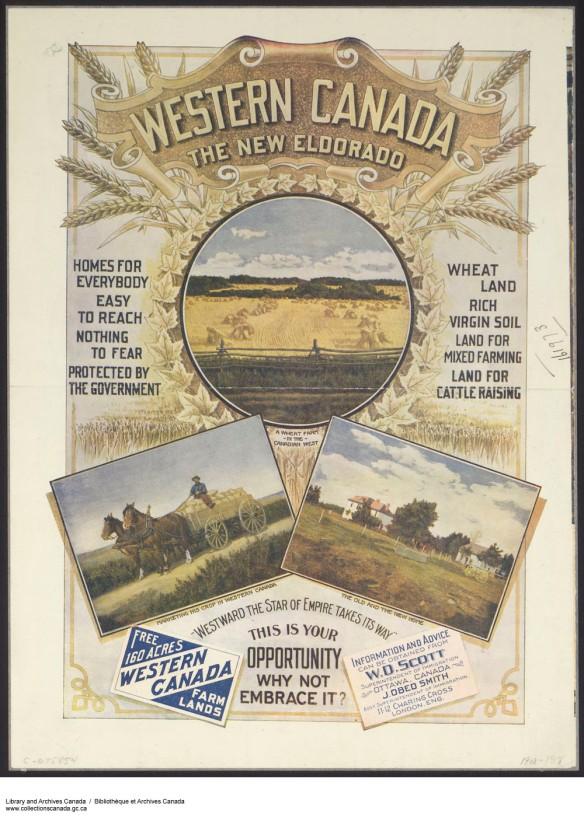 Affiche colorée montrant des scènes sur des fermes dans l'Ouest canadien avec, en toile de fond décorative, du blé doré et des feuilles d'érable. Les slogans entourant les images fournissent de l'information et des conseils.