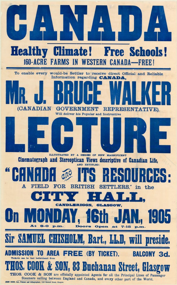 Affiche sur laquelle apparaissent en majuscules les mots « Canada » et « Lecture » (conférence). La taille des autres mots varie, et ils sont tous imprimés en bleu sur un fond sépia.