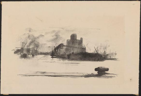 Lithographie d'un port sur laquelle on voit des mâts, des édifices et de la construction.
