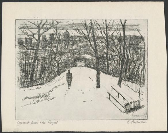 Eau-forte représentant une personne qui descend un chemin enneigé, vers une ville dont les édifices sont visibles à travers les arbres.