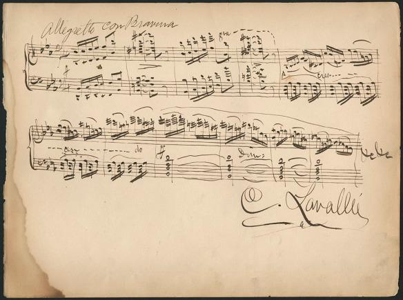 Page en papier sépia des notations musicales écrites à la main signées C. Lavallée.