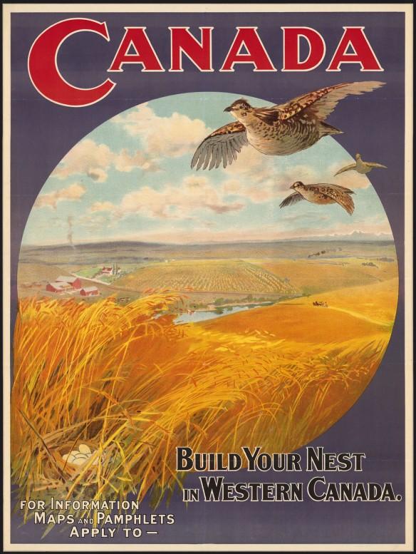Affiche aux couleurs vives au haut de laquelle figurent le mot « Canada » en gros caractères rouges, des oiseaux qui volent au-dessus de champs dorés dans un cercle ainsi qu'un slogan et, au bas, de l'espace pour indiquer où obtenir de l'information ou des documents.