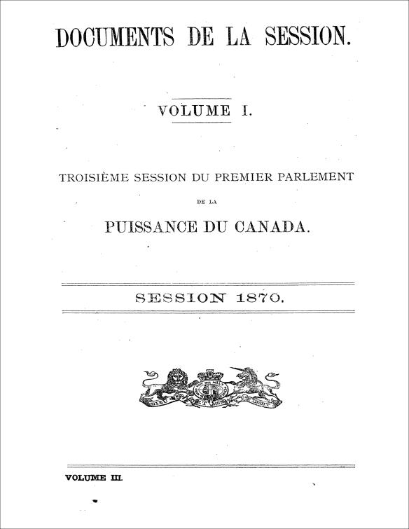 La page titre du 2e volume de la troisième session du Premier Parlement du Canada en 1870.