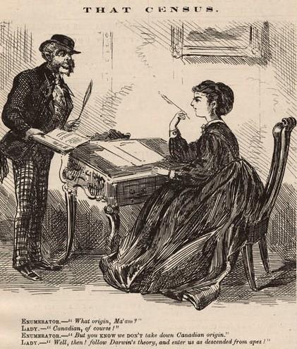 Caricature en noir et blanc montrant un énumérateur qui parle à une femme assise à un bureau.