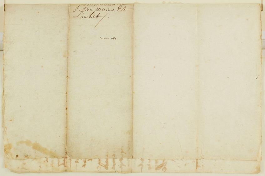 Recto et verso d'une lettre écrite à la plume. La lettre a été pliée en quatre; sur l'un des plis, on peut lire « Reconnaissance, St-Père, Minime EA, Lambert, 3 aoust, 1650. »