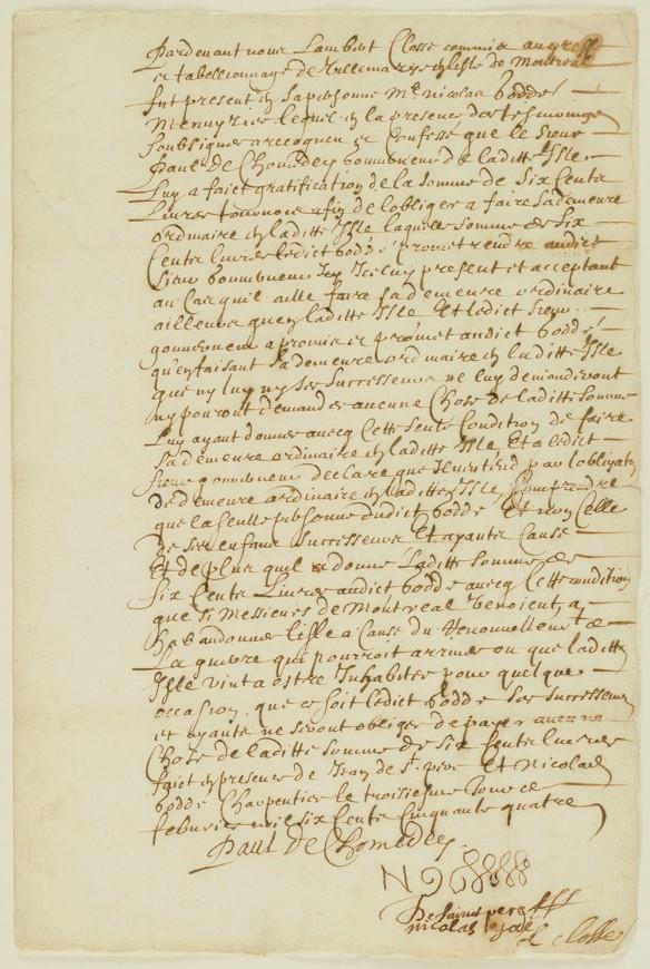 Page jaunie écrite à la plume.