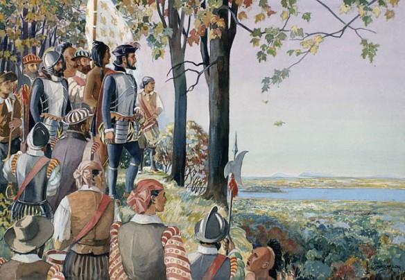 Aquarelle d'un groupe d'hommes se tenant debout sur une colline dans un boisé près duquel il y a un cours d'eau. À l'horizon se trouvent des îles et des montagnes peu élevées.