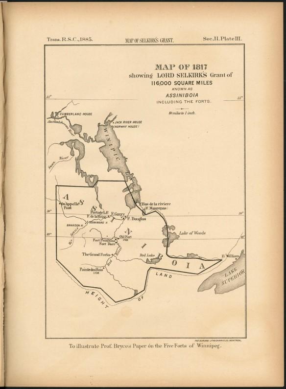 Une ligne fine délimite le lotissement de lord Selkirk sur la carte d'Assiniboia.