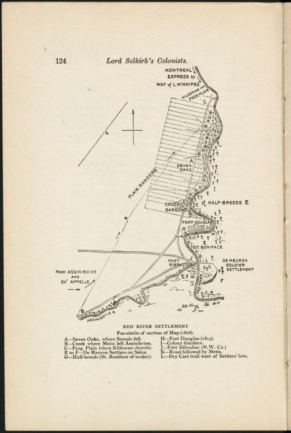 Carte de la colonie de la rivière Rouge représentant la voie ferroviaire, les colonies et les forts. Au bas, une légende énumère les différents points sur la carte.