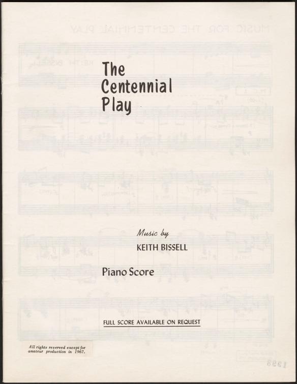 Une page montrant le titre et les auteurs de la partition musicale de la pièce The Centennial Play (Le jeu du centenaire).