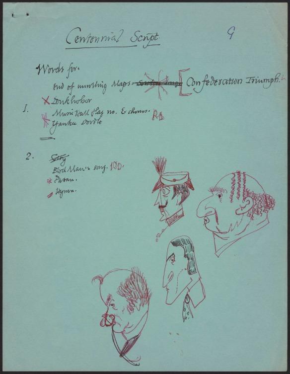 Page manuscrite avec dessins à l'encre rouge.