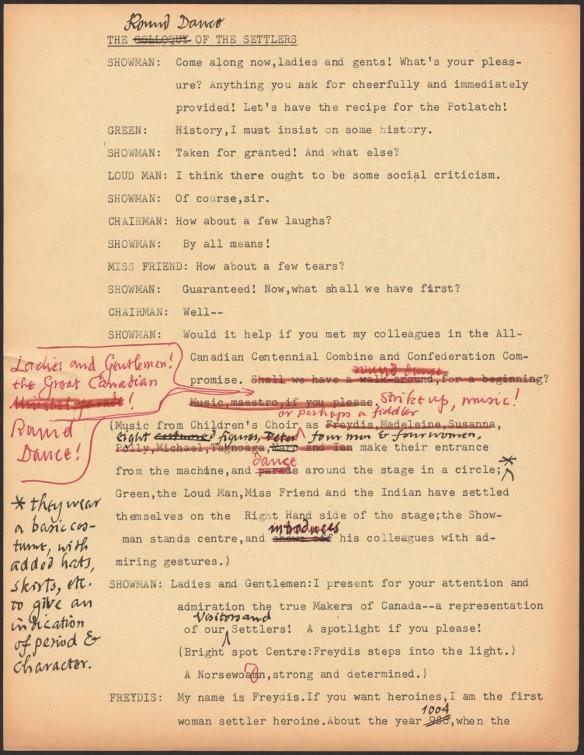 Texte dactylographié avec annotations à l'encre rouge.