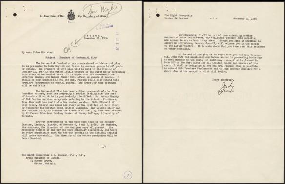 Deux pages d'une lettre dactylographiées avec texte et dates.