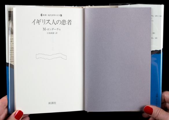 Photo en couleur d'un livre ouvert à la page titre écrit en japonais