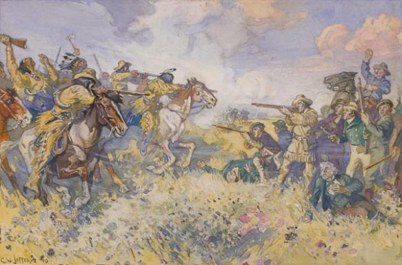 Aquarelle de la bataille montrant les deux côtés armés de fusils qui se font face dans un champ sous un ciel bleu partiellement nuageux. D'un côté, il y a surtout des employés blancs à pied de la Compagnie de la Baie d'Hudson, et de l'autre, il y a des Métis à cheval ainsi que des employés de la Compagnie du Nord-Ouest.