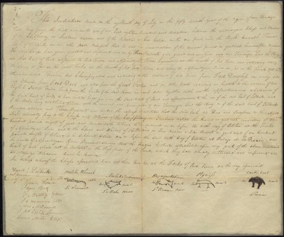 Image du Traité Selkirk, un grand document manuscrit au bas duquel figurent les signatures des Européens et les marques des chefs.