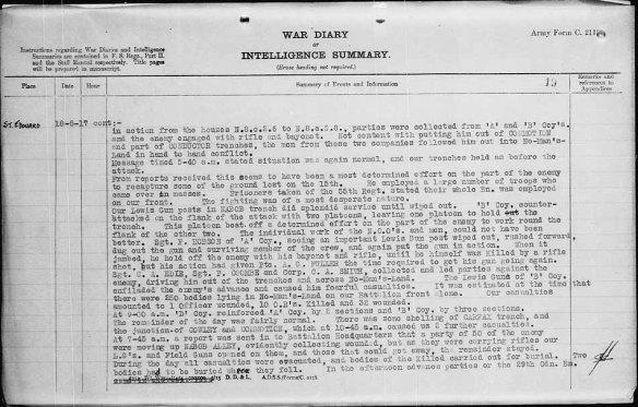 Description dactylographiée des événements de la journée, y compris une description des actions du sergent Frederick Hobson.