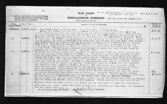 Description dactylographiée des événements de la journée. Elle indique que le major Learmonth et un autre officier sont décédés des suites de leurs blessures.