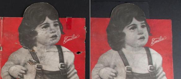 La figure 8 (à gauche) est une vue de détail de la tête d'Émilie avec des trous et des plis. La figure 9 (à droite) est la même vue de détail après traitement, sans les trous ni les plis.