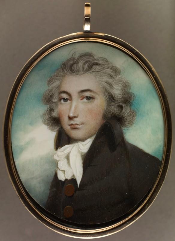 Portrait en miniature ovale du colonel William Claus vêtu d'une veste noire et d'une cravate blanche. Le fond est bleu.
