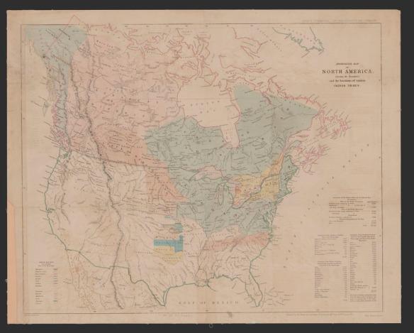 Une grande carte géographique en couleur de l'Amérique du Nord indiquant les territoires de diverses bandes autochtones avec des légendes dans les coins.