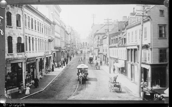 Une photographie en noir et blanc d'un tramway tiré par des chevaux. Les rails sont situés au milieu de la route. Des bâtiments de trois étages se trouvent de chaque côté de la route.