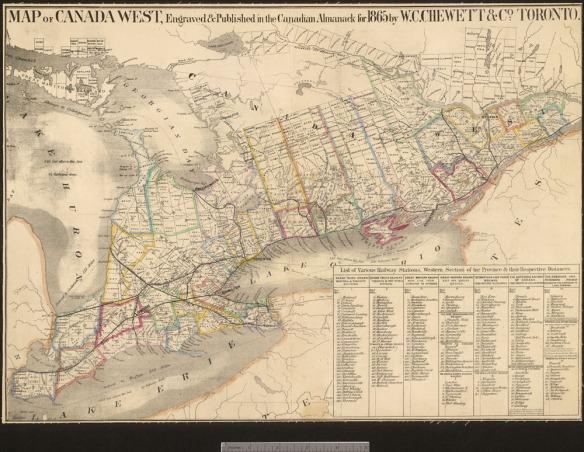 Une carte géographique de l'Ouest canadien, ce qui est maintenant le sud de l'Ontario, avec des couleurs indiquant les comtés. La légende contient une liste de gares ferroviaires avec leurs distances respectives.