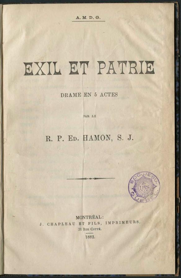 Image couleur de la page couverture d'un livre intitulé Exil et Patrie contenant le titre, le nom de l'auteur et de l'éditeur, le tout imprimé en noir sur papier jauni.