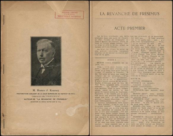 Image de deux pages côte à côte, celle de gauche est la page couverture avec une photographie en noir et blanc de l'auteur et à droite, la page texte du premier acte.