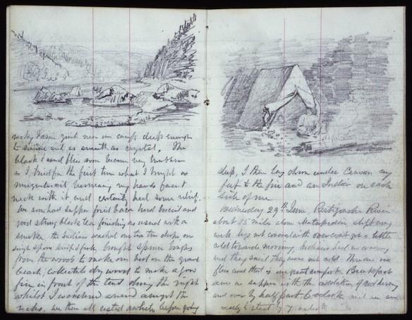 Deux pages d'un journal. Sur la première page figure l'esquisse d'un campement dans une vallée fluviale avec une forêt et des montagnes en arrière-plan, ainsi qu'un texte manuscrit en dessous. Sur la deuxième page se trouve l'esquisse d'une tente devant laquelle une personne, assise, entretient un feu.