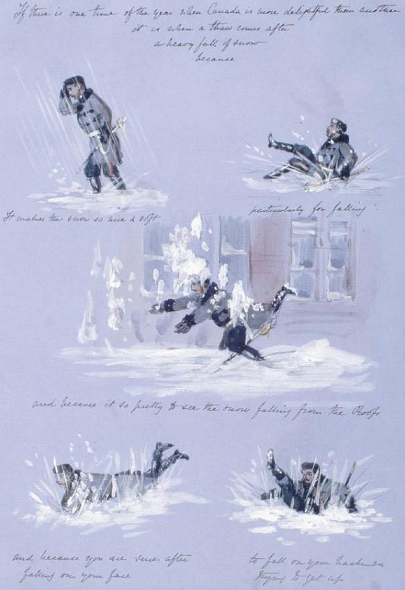 Une série de vignettes sur fond bleu montrent un homme marchant dans la neige profonde, tombant par-devant ou derrière, ou ployant sous les rafales de neige. Une légende accompagne chaque image : S'il y a une période de l'année où le Canada est encore plus enchanteur / C'est lorsqu'un dégel / suit une importante chute de neige / parce que / la neige devient alors si belle et si molle / surtout pour tomber / et parce que c'est si beau de regarder la neige tomber des toits. / Et parce que vous êtes certain qu'après / vous être écrasé le nez par terre / vous tomberez sur le dos / en essayant de vous relever. [Traduction libre]