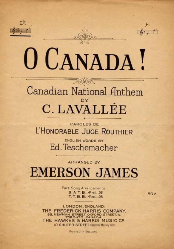 Couverture de la partition d'O Canada!, hymne national du Canada, par C. Lavallée.