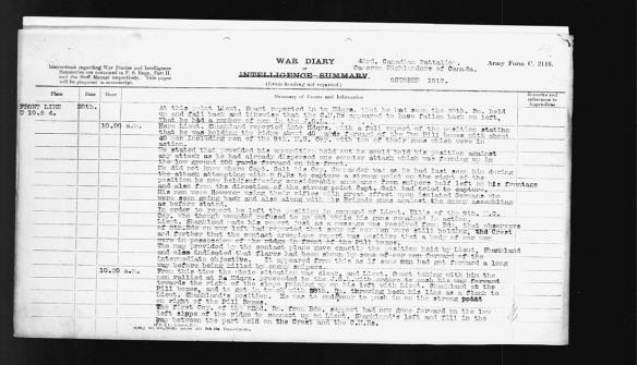 Liste tapée à la machine des événements du 26 octobre 1917, et en particulier, de ce qui est arrivé au 43e Bataillon d'infanterie canadien entre 10 h et 10 h 30.