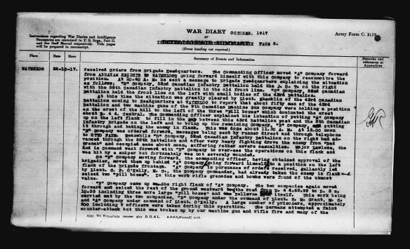 Page de texte serré où sont décrits soigneusement les événements du 26 octobre 1917. On y mentionne le capitaine O'Kelly et le lieutenant Shanklin [sic].