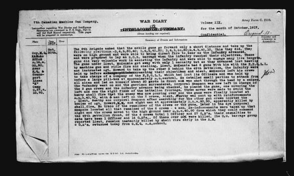 Un compte rendu précis dactylographié des événements du 30 octobre 1917.