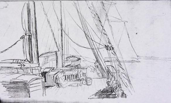 Esquisse au crayon montrant une personne qui lit sur le pont d'un navire, et un autre navire en arrière-plan.