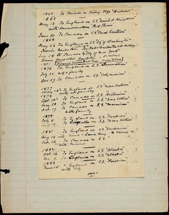 Liste manuscrite de dates, de destinations et de noms de navires, collée sur du papier ligné.