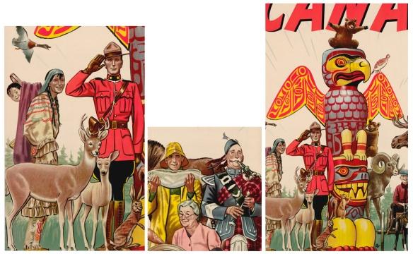 Trois détails de l'affiche : sur la première image, on voit un officier de la police montée en uniforme, debout à côté d'une femme autochtone portant un bébé sur son dos. La femme est vêtue d'une robe bleue et rouge à rayures. Un cerf et un lièvre se tiennent devant. Sur la deuxième image, on voit un pêcheur en imperméable jaune tenant un gros poisson, à côté d'un homme en habit bleu jouant de la cornemuse. Une femme aux cheveux blancs est assise entre eux. La troisième image montre un mât totémique coloré représentant un aigle aux ailes déployées, entouré d'animaux sauvages.