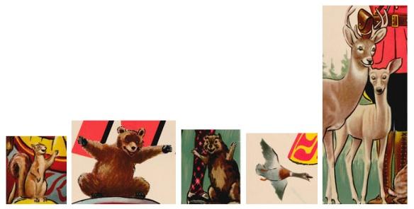 Détails montrant un petit écureuil brun; un ours brun accroupi, les pattes avant écartées; un petit castor brun debout, avec les pattes avant écartées; un canard en vol; et finalement, deux cerfs bruns (un mâle et une biche).