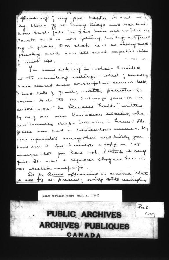 Page en noir et blanc d'une lettre de Lucy Maud Montgomery à George Boyd Macmillan.