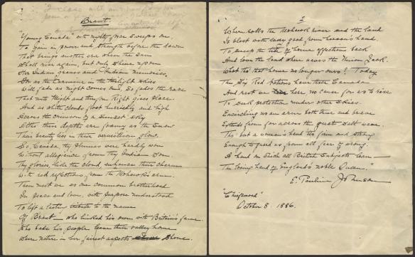 Pages d'un poème écrit à la main et daté par l'auteure, Pauline Johnson.