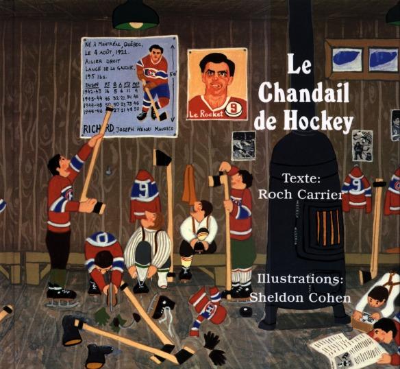 Couverture de livre illustrée en couleur représentant des garçons habillés comme Maurice Richard qui se préparent pour une partie de hockey.