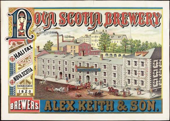 Une estampe en couleur d'une annonce pour la bière Alex. Keith et fils. Nova Scotia Brewers.