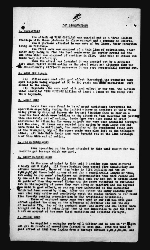 Description dactylographiée des événements de la journée du 6 novembre 1917.