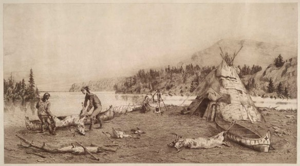 Gravure de deux hommes sur une plage installant un chevreuil mort dans un canot. On peut voir un autre canot et un wigwam sur le côté, ainsi que des arbres et une montagne en arrière-plan, de l'autre côté de la rivière.