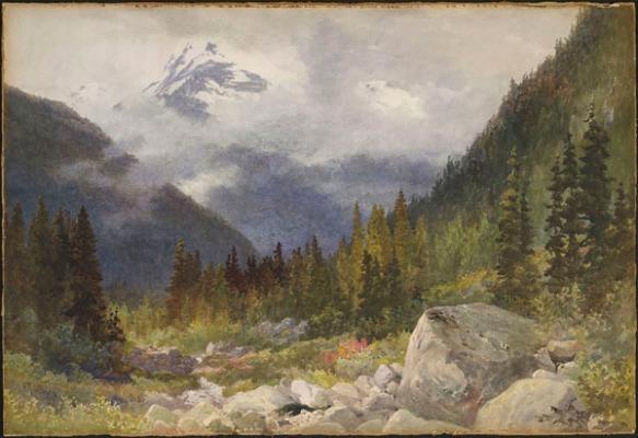 Aquarelle colorée dépeignant une verte forêt devant des montagnes bleues sous un ciel nuageux.