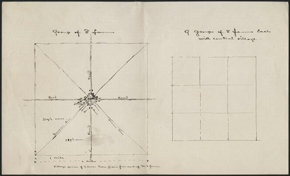 Page avec deux grilles tracées à l'encre noire séparées en carrés ou en triangles pour représenter les fermes.