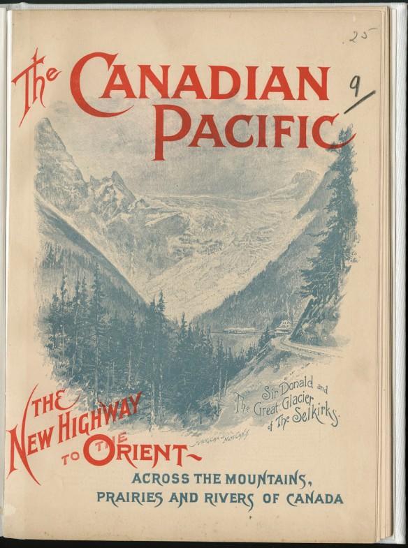 Image d'une chaîne de montagnes avec un petit train quittant une gare, avec un titre réparti entre le haut et le bas de la page.